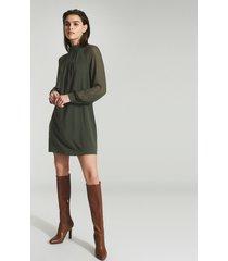 reiss leah - chiffon shift dress in green, womens, size 14