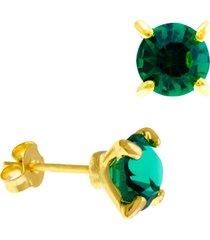 brinco horus import ponto luz verde esmeralda banhado ouro amarelo 18 k - 1031101 - tricae