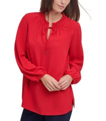 tommy hilfiger ruffled tie-neck top