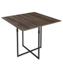 mesa de jantar quadrada teka marrom e preta 90 cm