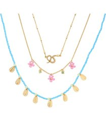 betsey johnson flower layering necklace set, 3 pieces