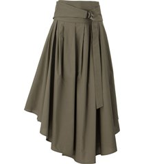 brunello cucinelli cotton poplin full skirt with d-ring corset belt mud