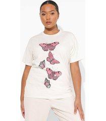 plus vlinder t-shirt, beige
