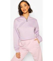 rib high neck zip crop sweatshirt, lilac