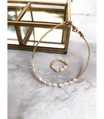bransoletka + pierścionek - perły
