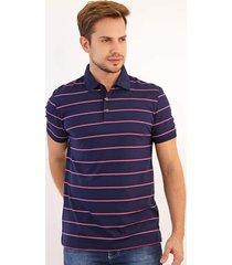 camisa polo calvin klein reta listrada azul/rosa
