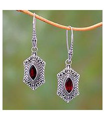 garnet dangle earrings, 'sanur elegance' (indonesia)