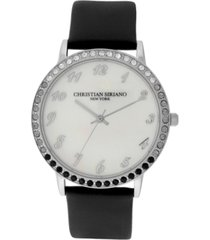 christian siriano women's analog mop stainless steel black vegan leather watch 40mm