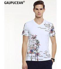 camiseta manga corta v-cuello gaupucean para hombre-blanco