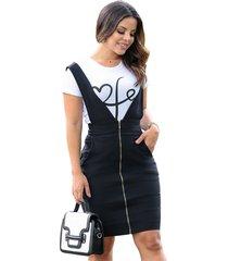 conjunto vestido salopete secretária e blusinha manga curta malibu eduarda preto e branco