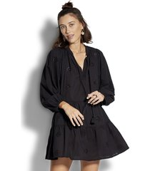 seafolly embroidered sleeve tiered dress black