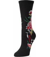 natori midnight garden socks, women's, black, cotton natori