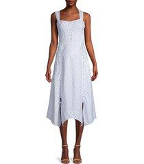 rebecca minkoff women's striped cotton & linen dress - milk sky - size 2