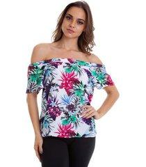 blusa cigana kinara estampa floral feminina