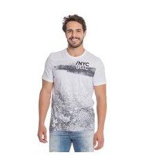 camiseta masculina estampa texturizada amarelo (31073p/a) g branco