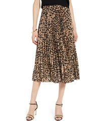 women's halogen pleated midi skirt, size xx-large - brown