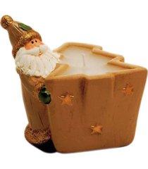 porta vela pinheiro decoração natalina cor bege cerâmica