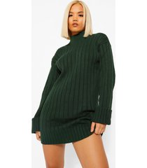 petite oversized ribgebreide trui-jurk, groen