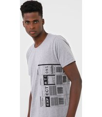 camiseta fiveblu geométrica cinza