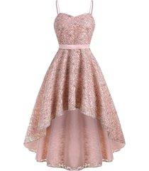 dip hem flower lace cami party dress