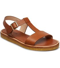 sandals - flat - open toe - op shoes summer shoes flat sandals brun angulus