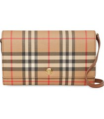 burberry vintage check wallet with detachable strap - brown