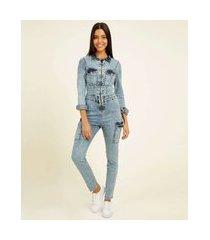 macacão feminino jeans zíper bolsos manga longa