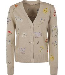 tory burch floral embroidered simone cardigan