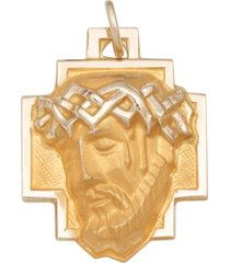 christ head pendant in 14k yellow gold
