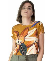 blusa feminina viscose estampada floral manga curta casual - feminino