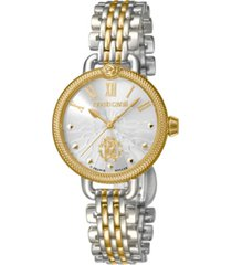 roberto cavalli by franck muller women's swiss quartz two-tone gold stainless steel bracelet watch, 30mm