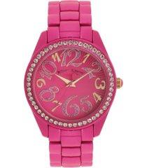 betsey johnson women's color spray hot pink metal bracelet watch 40mm