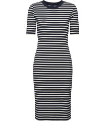 d1. striped rib jersey dress knälång klänning blå gant