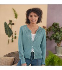 sundance catalog women's dover cardigan in canal small