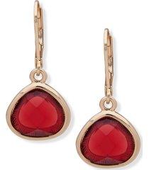 anne klein gold-tone red stone drop earrings