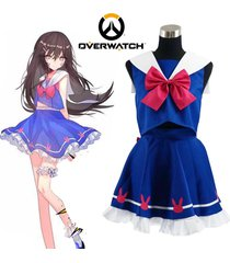 girl ow hana song d.va cosplay costume blue sailor school uniform dress