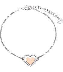 bracciale in argento con cuore rosato per donna