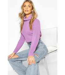 cropped fisherman roll neck sweater, violet