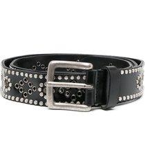 etro studded leather belt - black
