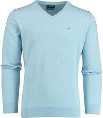 bos bright blue blue vince v-neck pullover flat kn 20105vi01bo/210 licht blauw