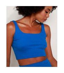 top cropped feminino mindset canelado alça média decote reto azul royal