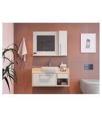 conjunto para banheiro bangkok com gabinete suspenso 2 pt 1 gv branco e off white