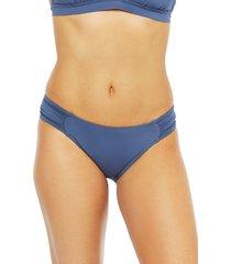 women's la blanca island goddess hipster bikini bottoms, size 2 - blue