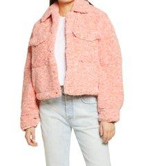 women's free people teddy swing jacket, size x-small - pink