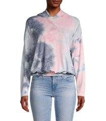 love ady women's tie-dyed hoodie - charcoal pink tie dye - size l