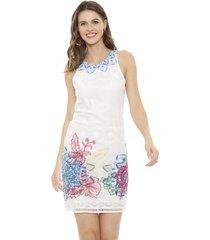 vestido desigual corto blanco - calce ajustado