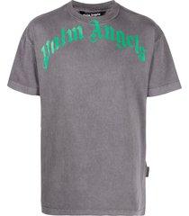 palm angels logo-print washed-finish t-shirt - black