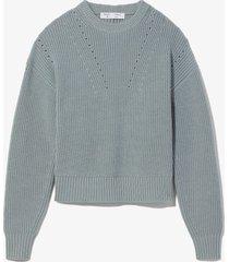 proenza schouler white label slit back merino knit sweater 00210 steel blue l