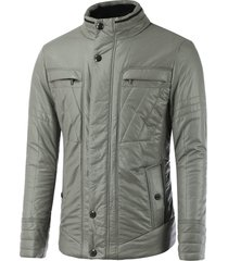 buckled pocket design zippered texture padded jacket