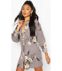 bloemenprint blouse jurk, grijs